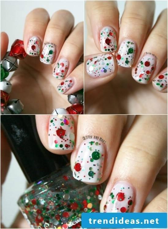 Gel nails motifs with glitter