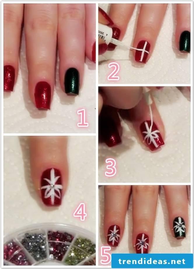 Nail design Christmas: step by step