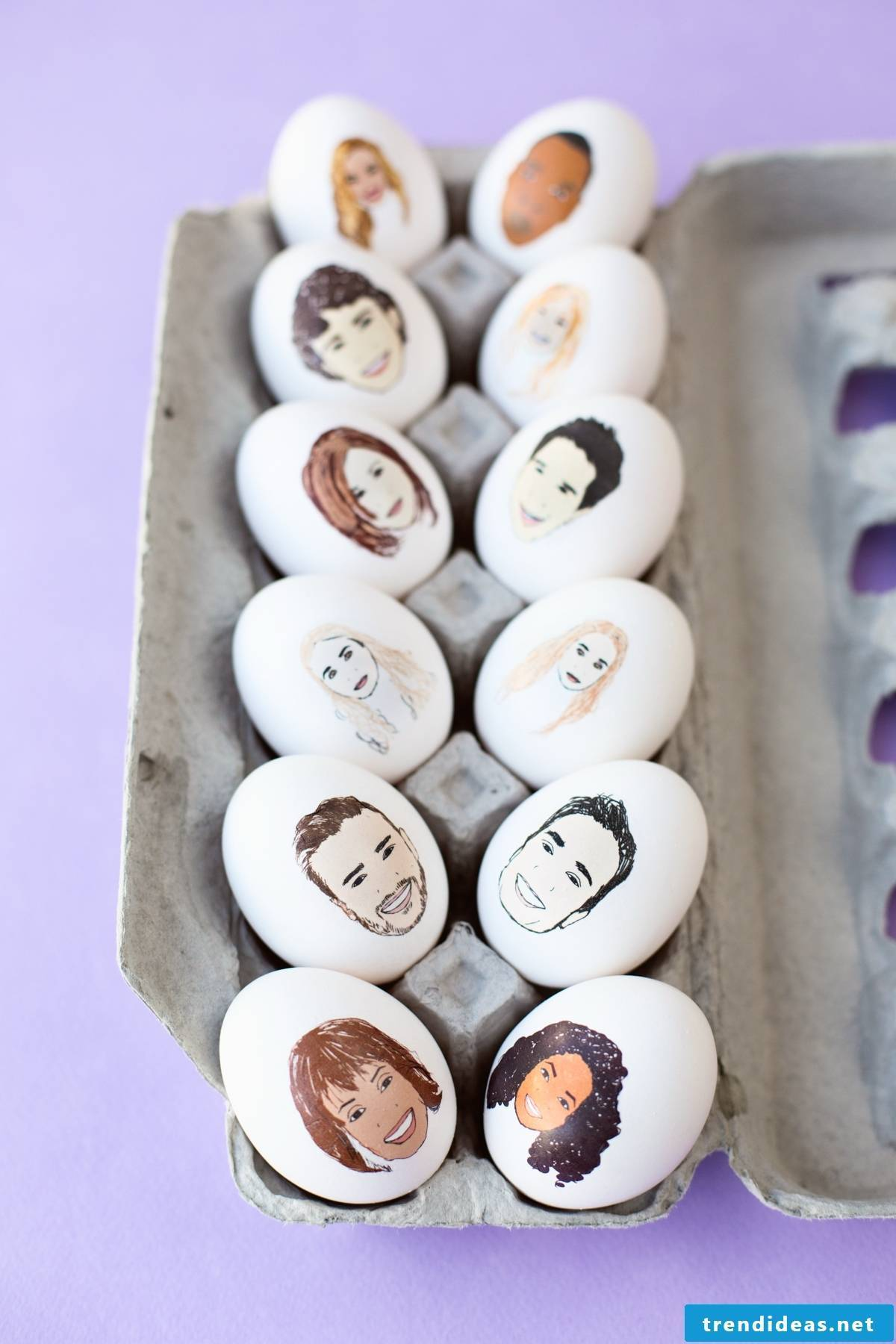 Easter eggs with celebrities faces