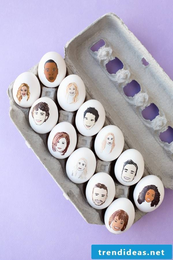 Paint easter eggs with faces of celebrities