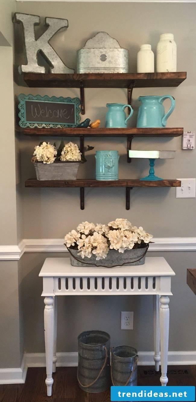 Kitchen decor on shelf