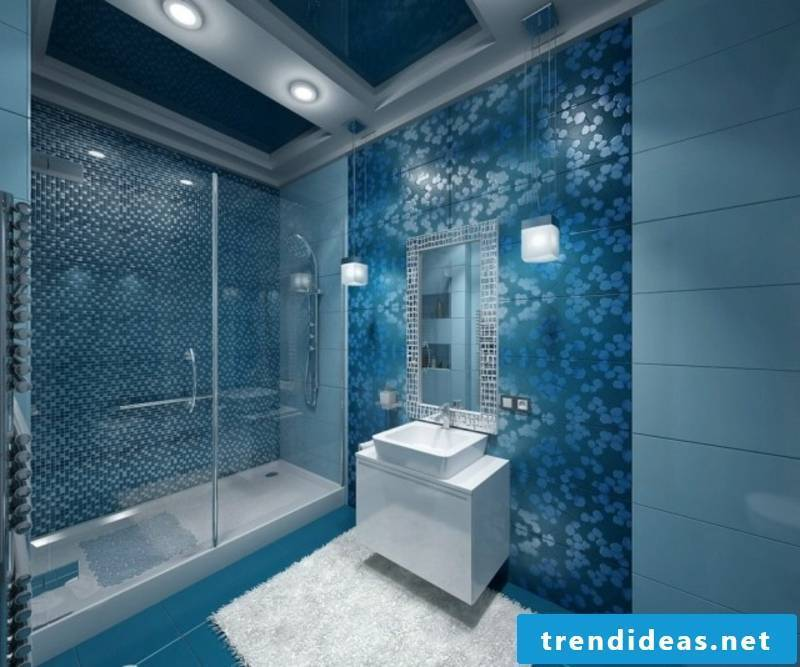 Bathroom design blue mosaic tiles