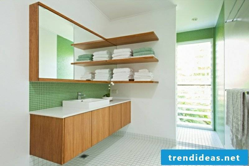 green mosaic tiles modern bathroom design