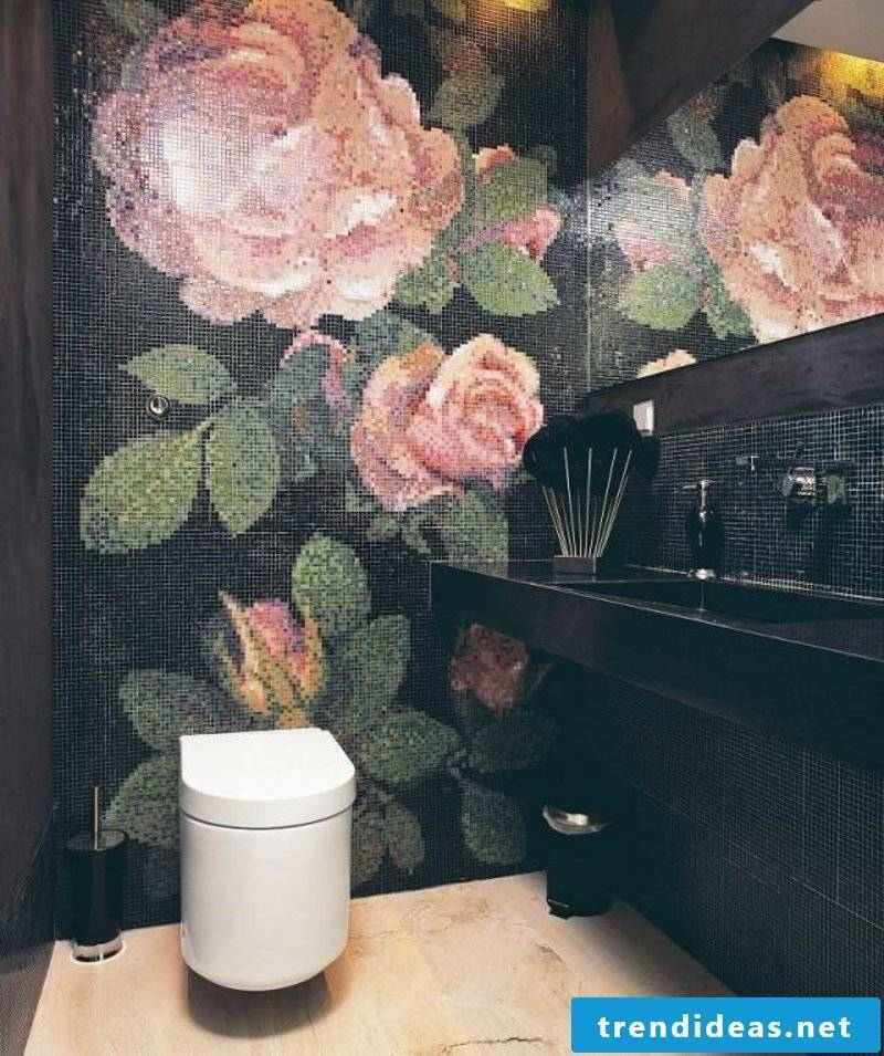 Bathroom design mosaic tiles as a work of art