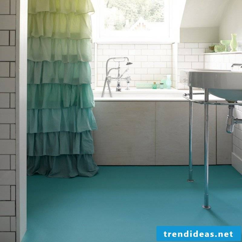 Bathroom design rubber as a floor covering