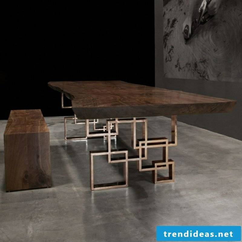 original table made of driftwood with metal legs