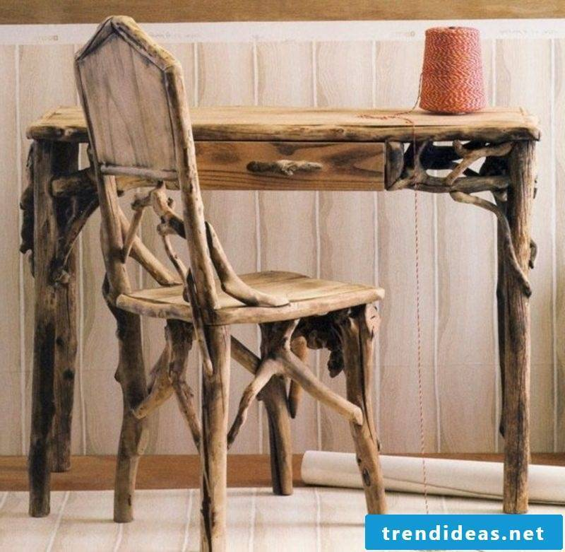 Driftwood furniture chair and desk