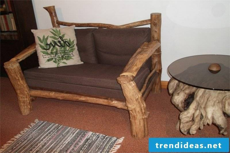 comfortable couch made of driftwood