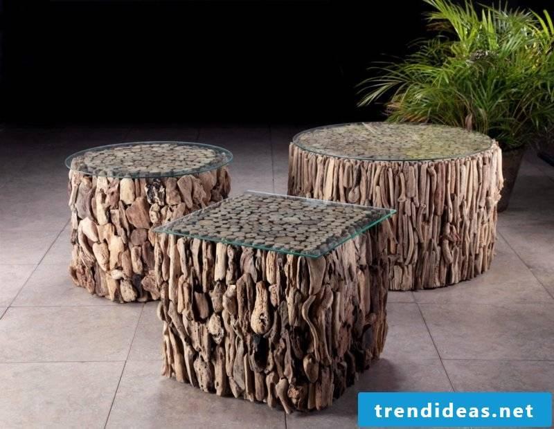three original tables made of driftwood