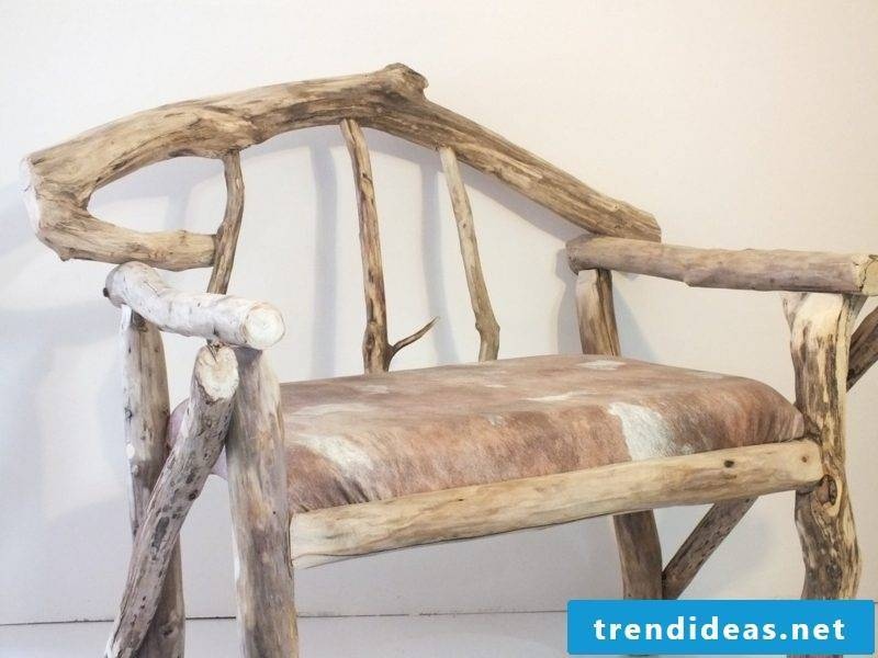 Bench made of driftwood