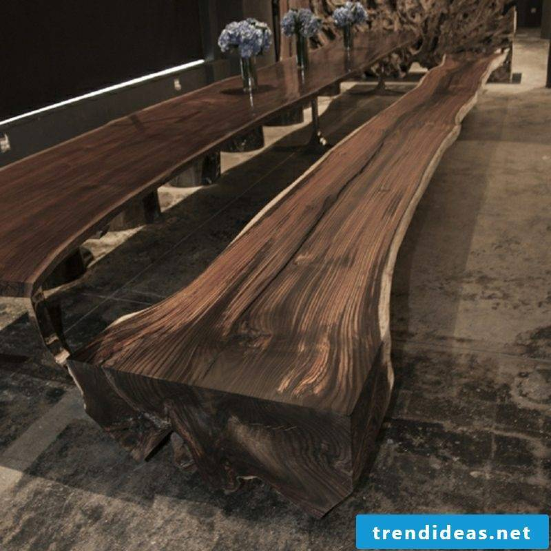 massive bench made of driftwood