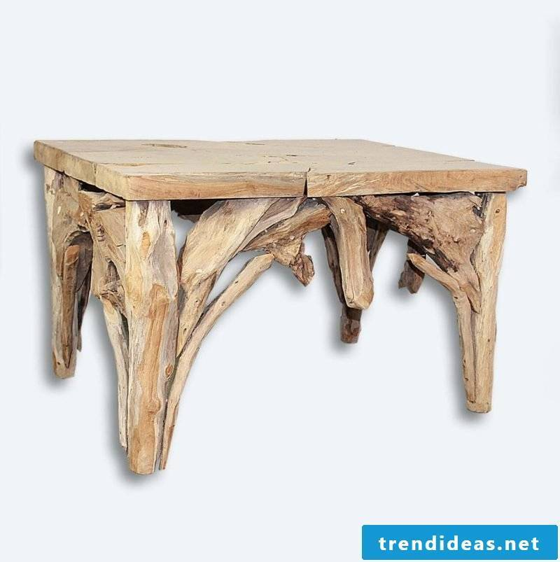 rustic coffee table made of driftwood