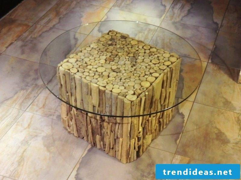 round coffee table driftwood and glass
