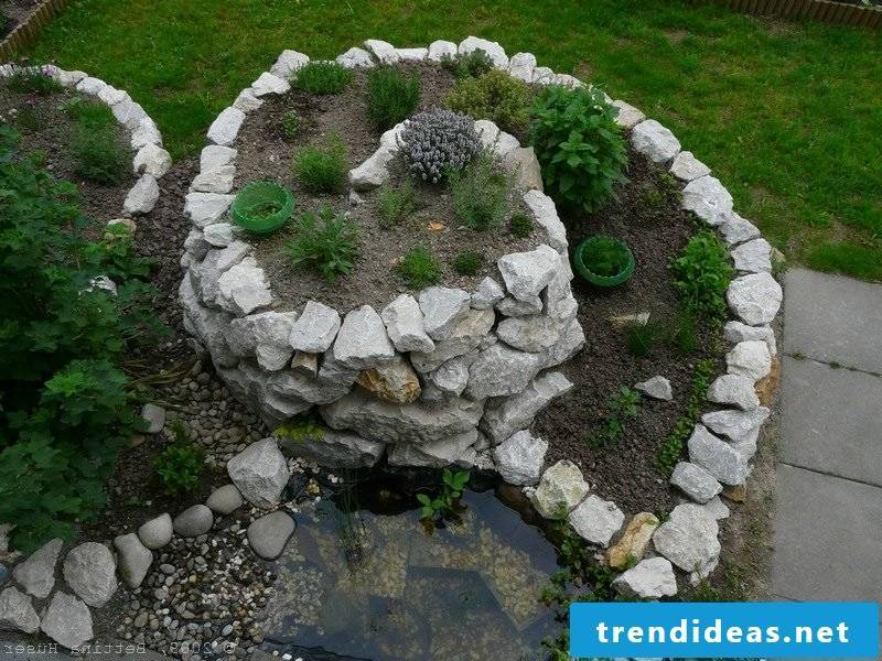 Herbal snail with decorative pond