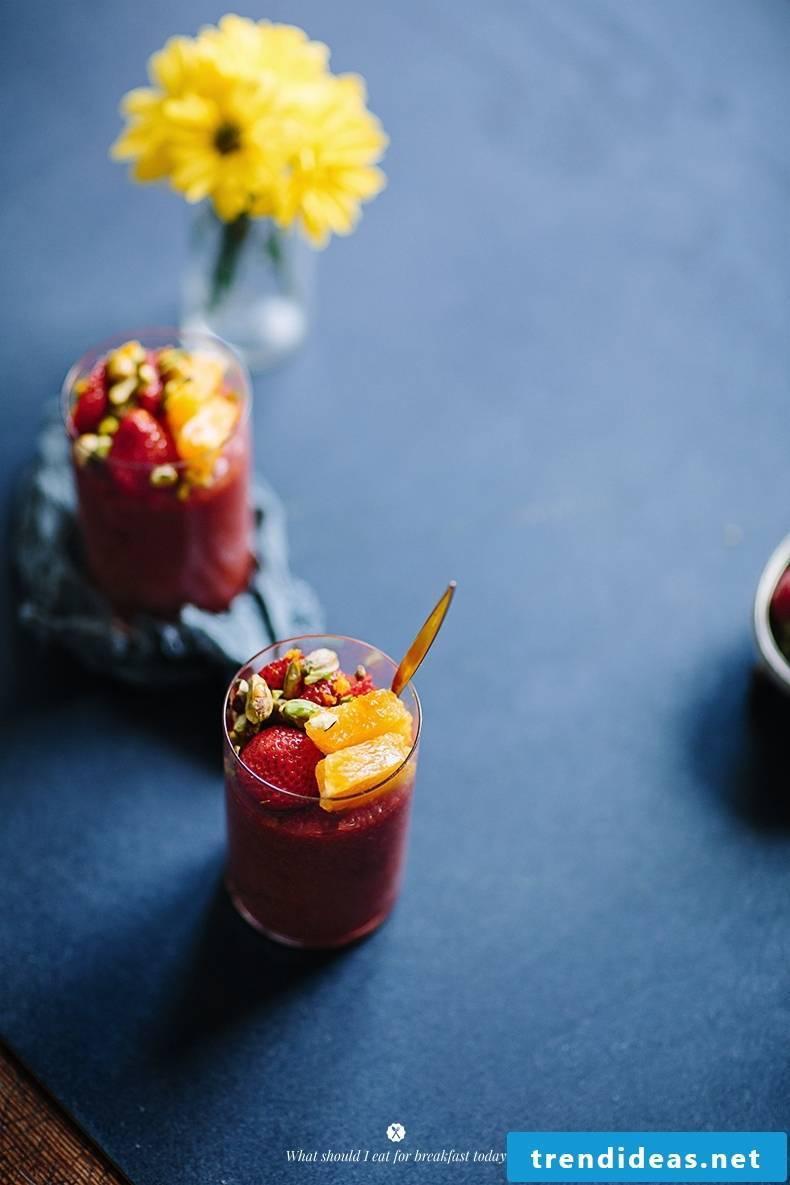 Quinoa breakfast strawberries orange juice