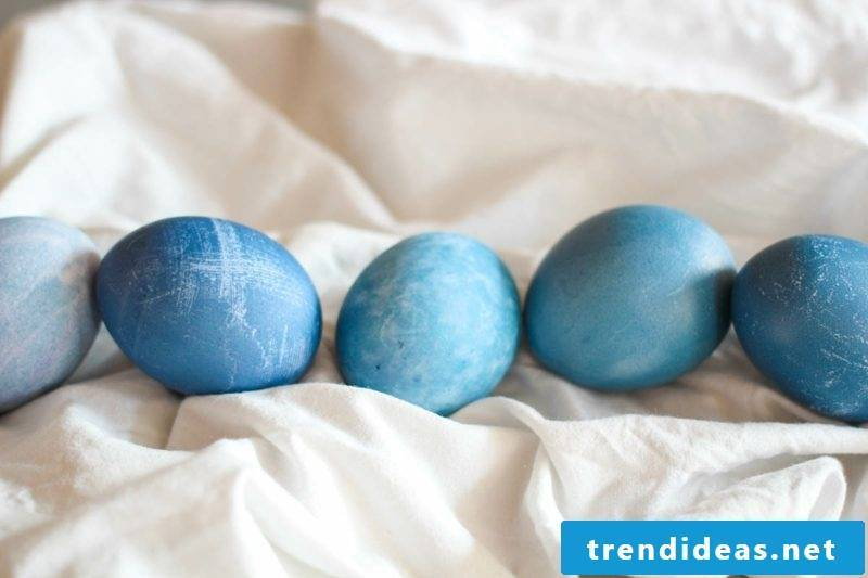 Easter eggs color with nature blue bilberry juice