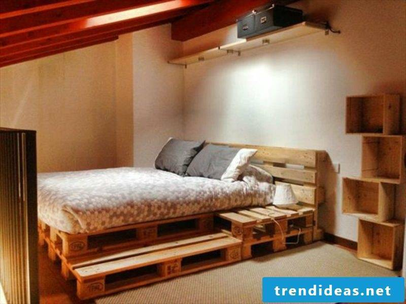 Euro pallets bed with headboard built