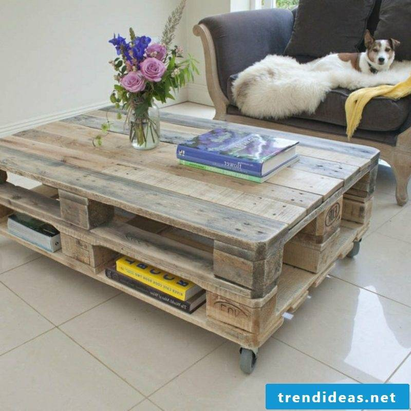 Coffee table made of europallets living room