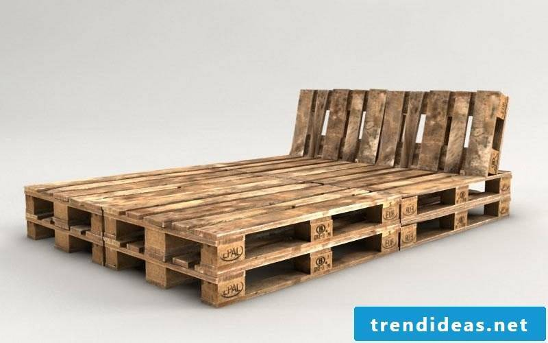 Euro pallets bed with headboard built itself wonderful look