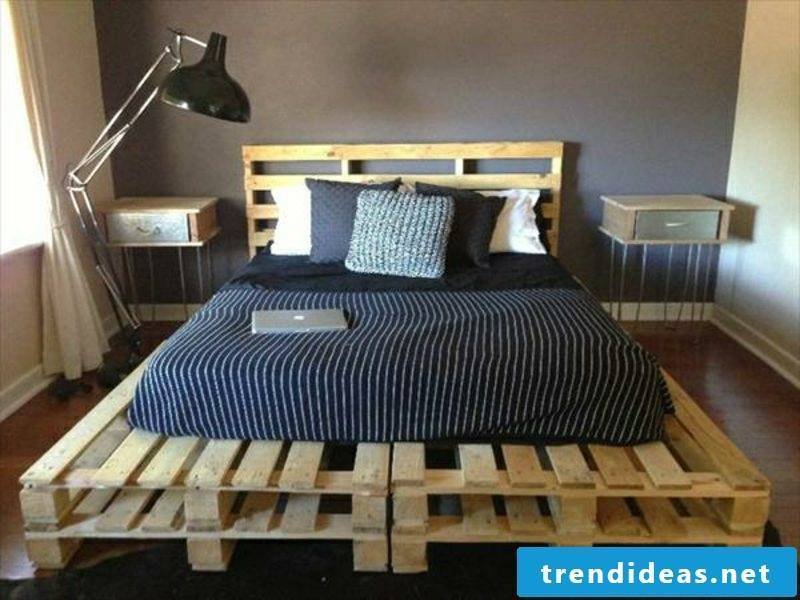 Euro pallets bed itself build modern double bed with headboard
