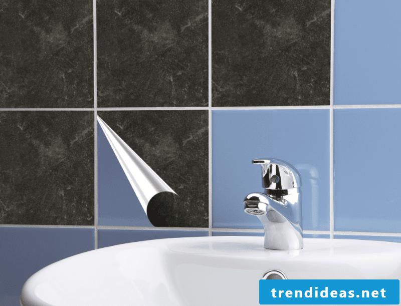 Wall tiles bathroom over adhesive PVC tiles self-adhesive