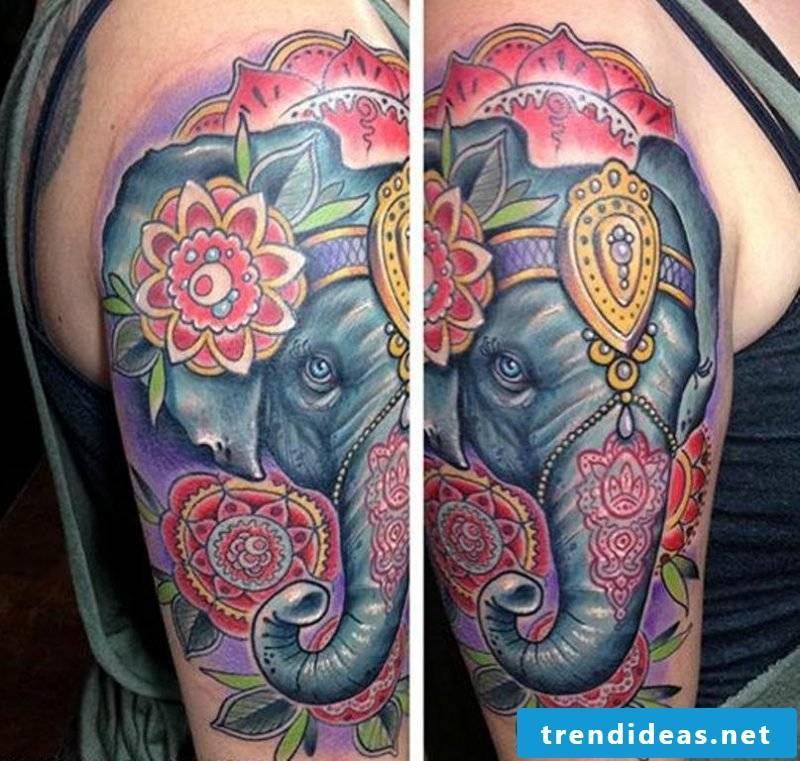 Elephant tattoo colored