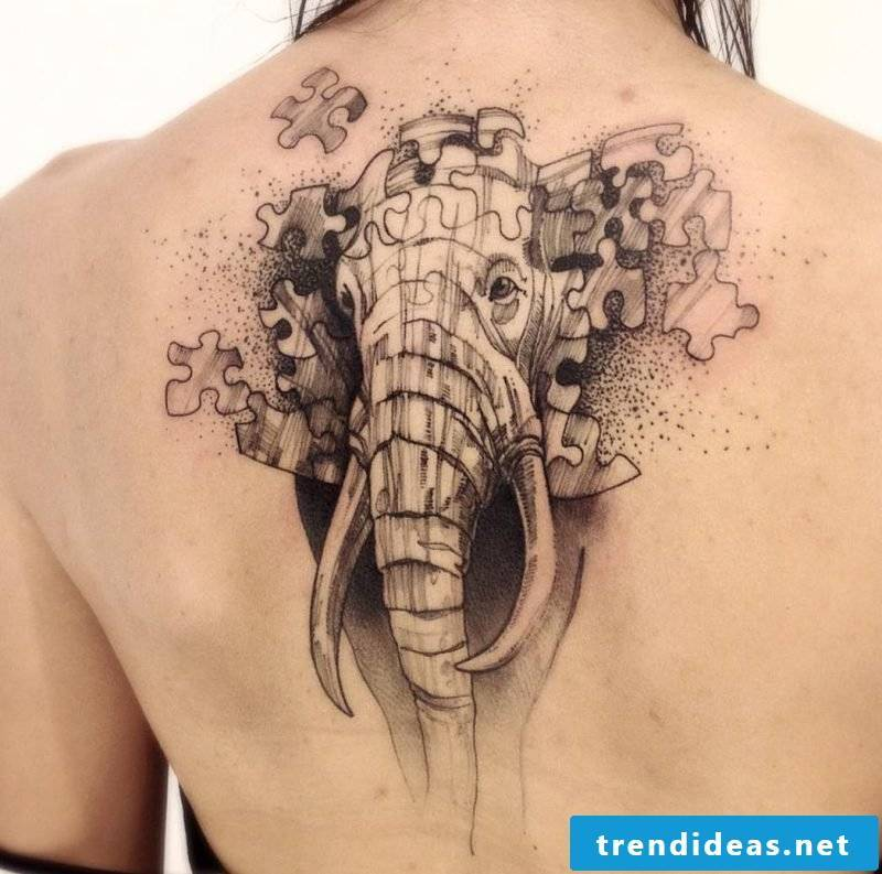 Elephant tattoo women shoulder
