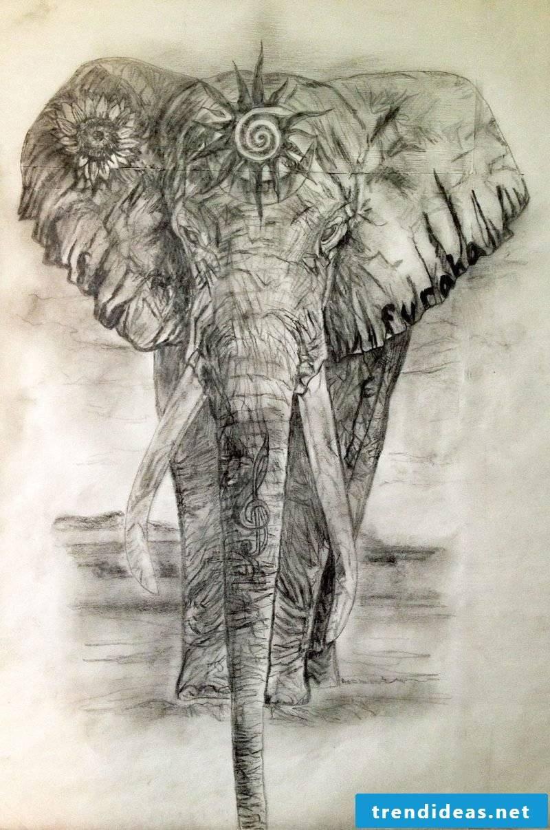 Elephant tattoo graphic