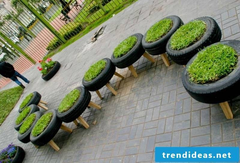 Extravagant garden with eco-friendly flowerpots
