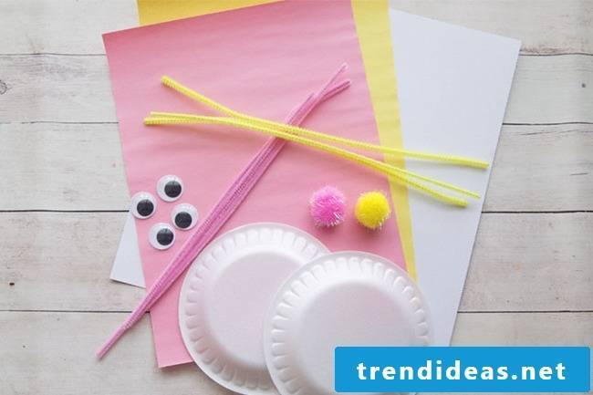 DIY instructions for Easter bunnies from paper plate - the necessary materials