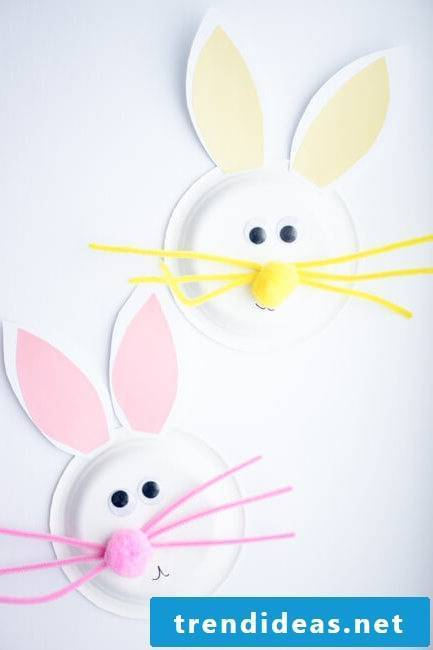 With the help of your children, make a nice Easter bunny out of paper plate
