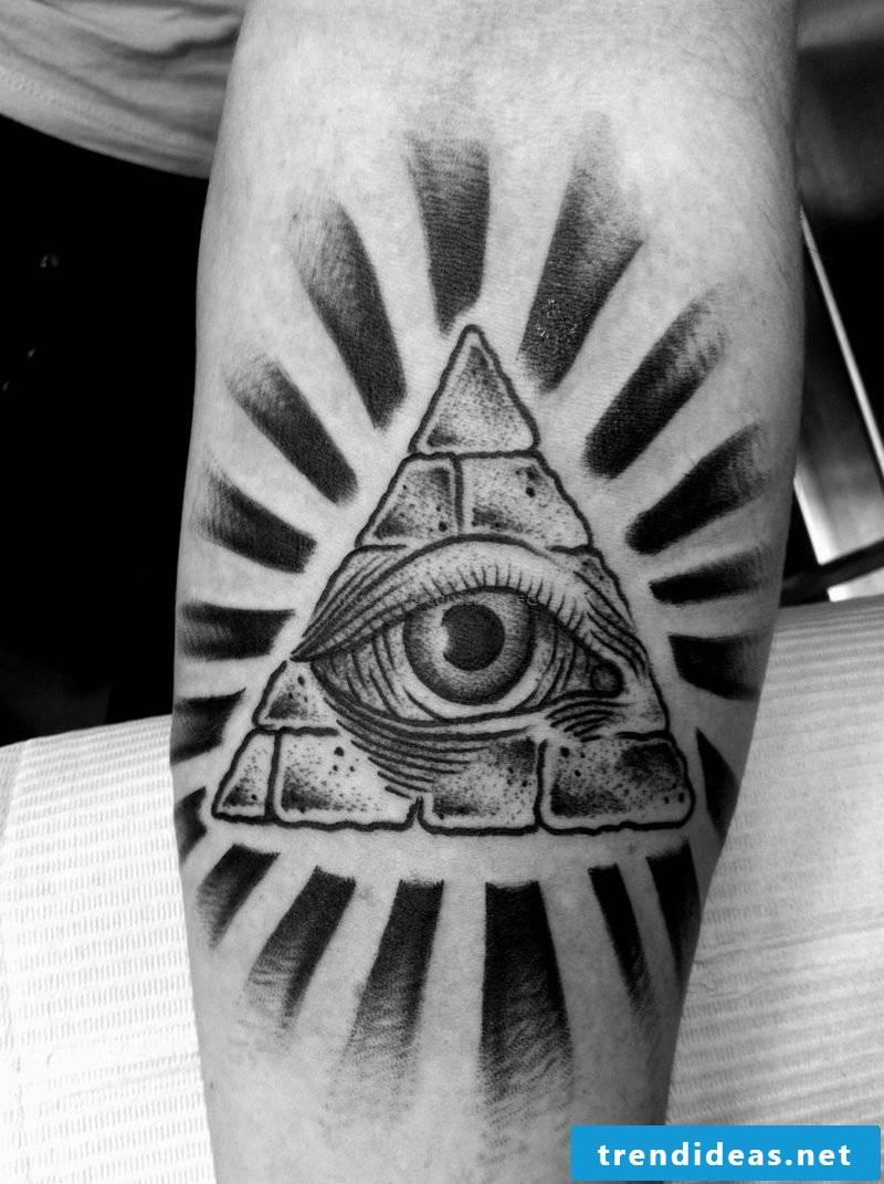 eyes tattoo freemason motif