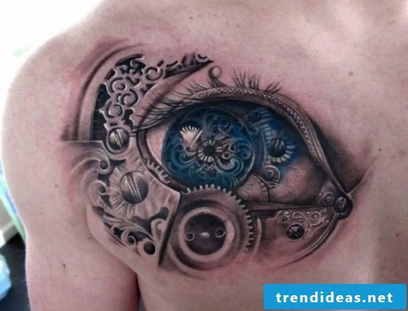 biomechanical eye tattoo design