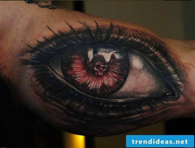 big eyes tattoo red skull