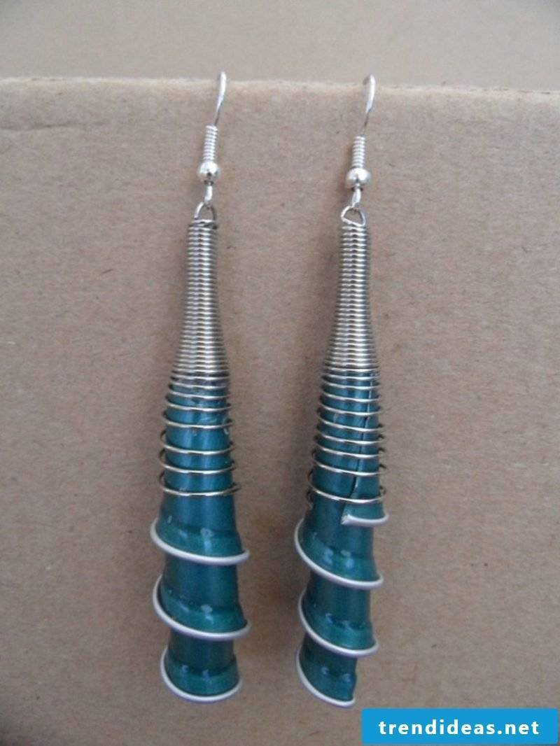beautiful earrings from Nespresso capsules