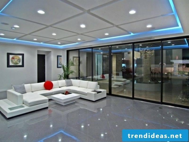 Ceiling lighting indirectly blue light