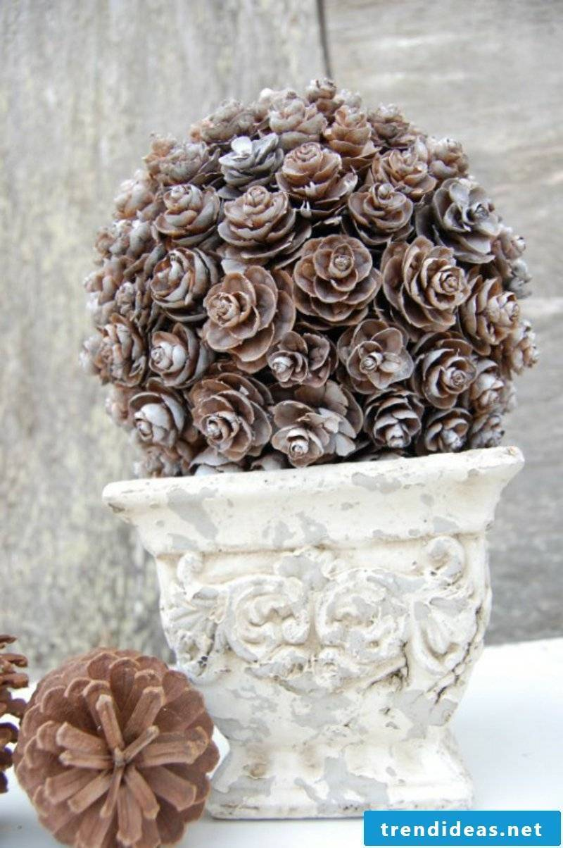 Tinker with pinecone flowerpot
