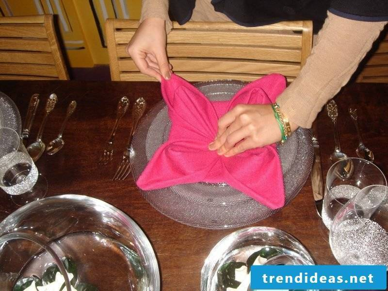Star napkins fold step 12