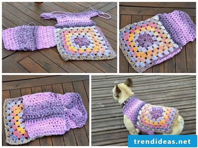 Dog sweaters knit with two types of patterns