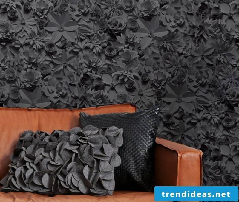 black wallpaper with floral motifs