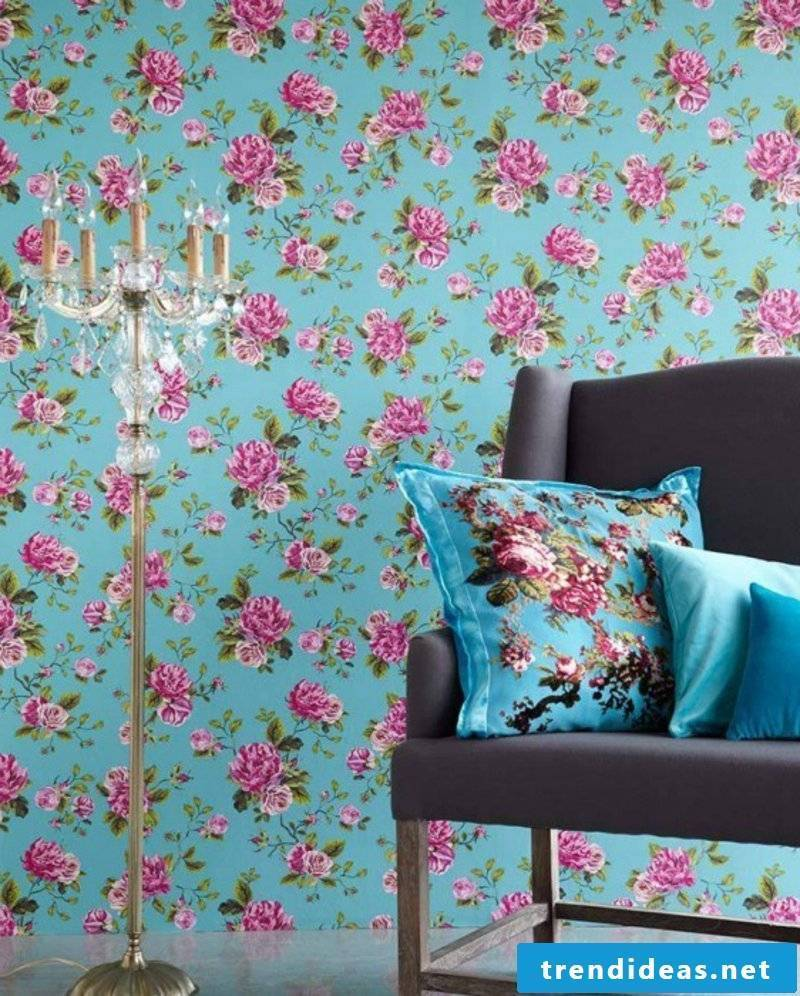 blue wallpaper with floral motifs