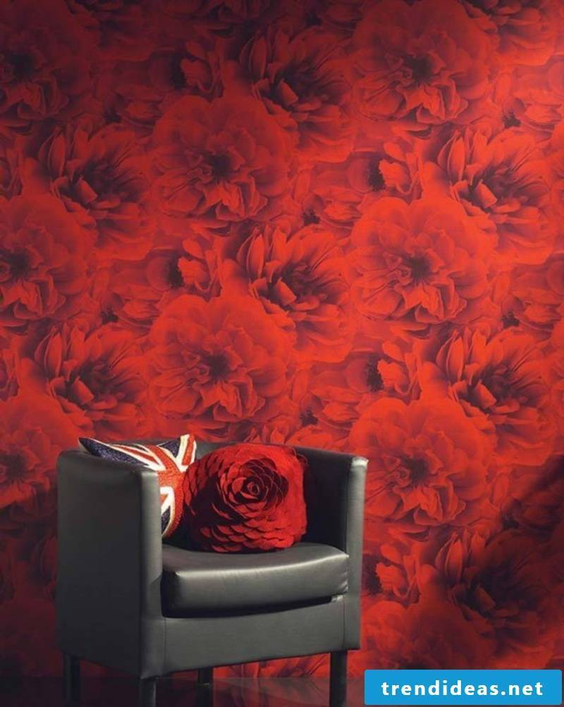 Photo wallpaper with red flowers
