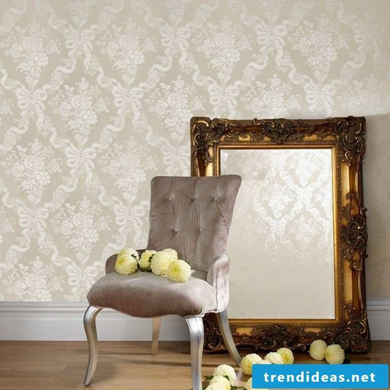 silver wallpaper in Baroque style