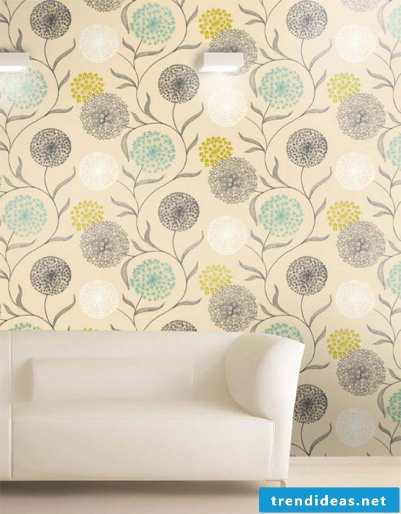 modern wallpaper with floral motifs