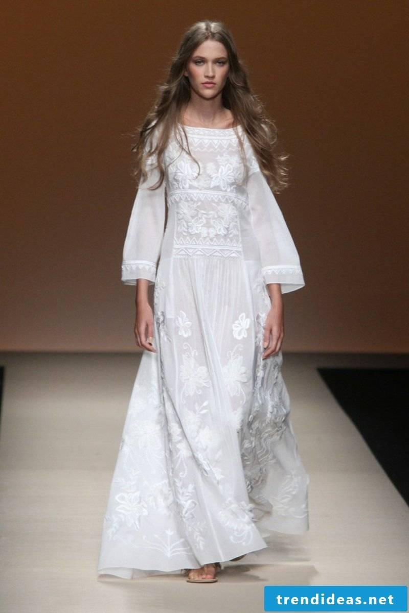 silk bridal clad in boho style