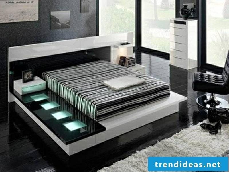 Luxury bedroom with modern LED lighting