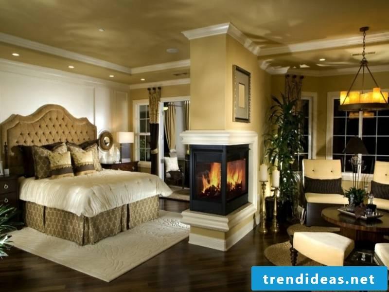 designer fireplace in the luxury bedroom