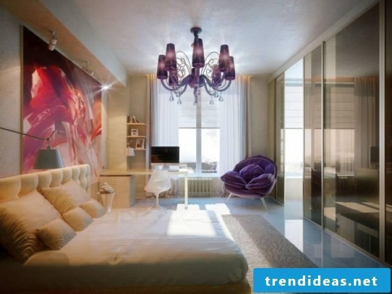 Luxury bedroom with purple chandelier