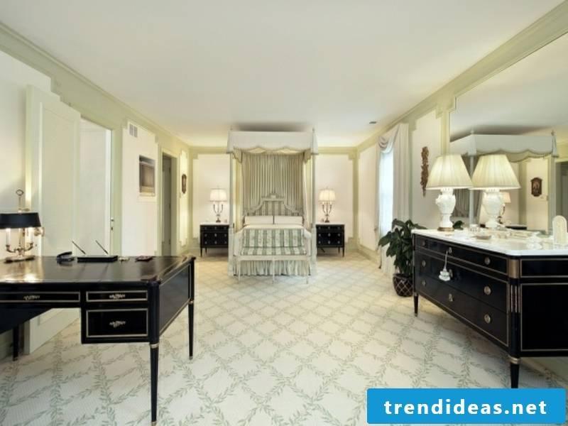 huge luxury bedroom with classic furnishings
