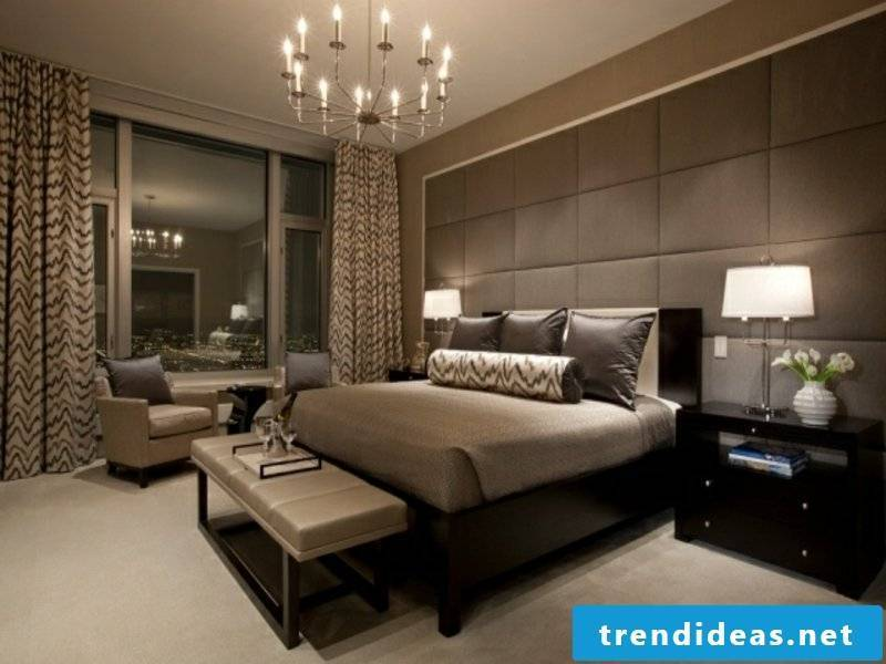 brown and gray accents in the luxes bedroom